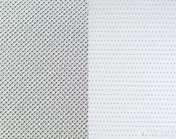 两种形式的透声幕,左侧是编织透声幕,右侧是打孔透声幕