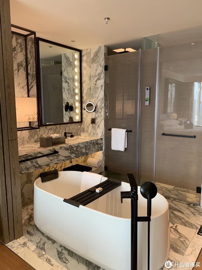 洗漱台和浴缸,设计还是比较时尚的