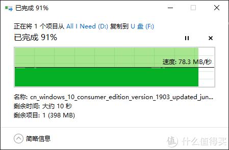 ↑ 写入速度稳定在78MB/S (至尊超极速Extreme Pro 128GB)