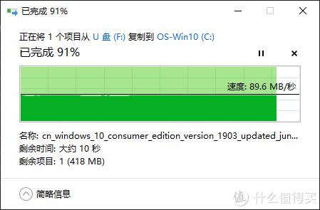 ↑ 读取速度稳定在89MB/S (至尊超极速Extreme Pro 128GB)