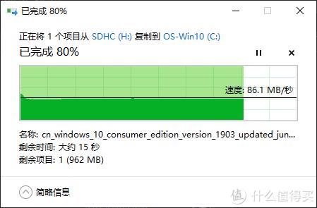 ↑ 读取速度稳定在86MB/S (至尊高速Ultra 32GB)