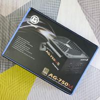 美国艾湃电竞AG-750M电脑电源开箱晒物(主机|模组线|螺丝|风扇|散热孔)