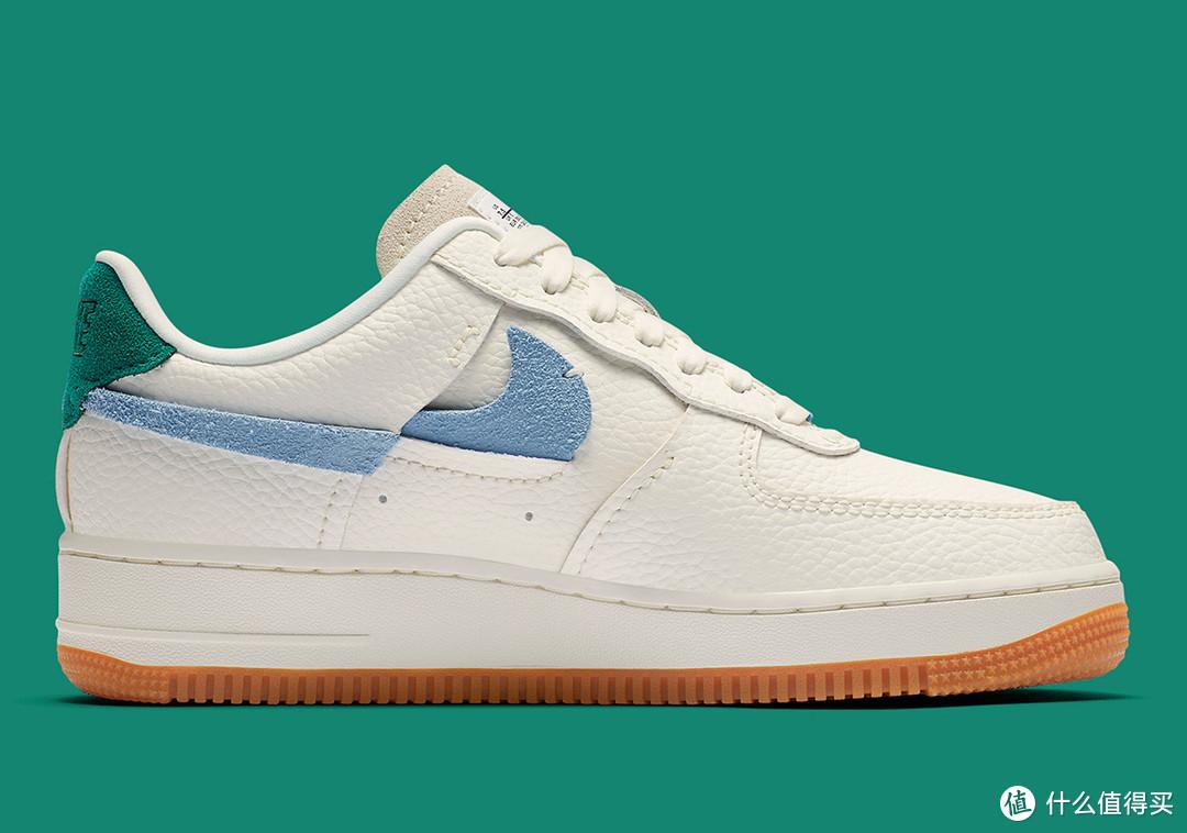 """翻折错勾设计:NIKE 耐克 推出 Air Force 1 """"Vandalized""""蓝绿配色运动鞋"""