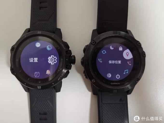 两块手表的实际按键设计有较大差异,左侧为COROS VERTIX ,右侧为GARMINfenix5X。