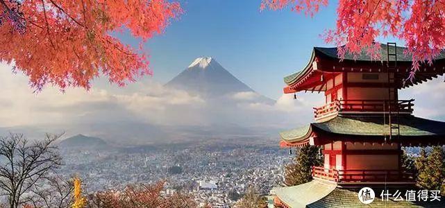 日本的代表性景色,红叶、古寺、城市、富士山