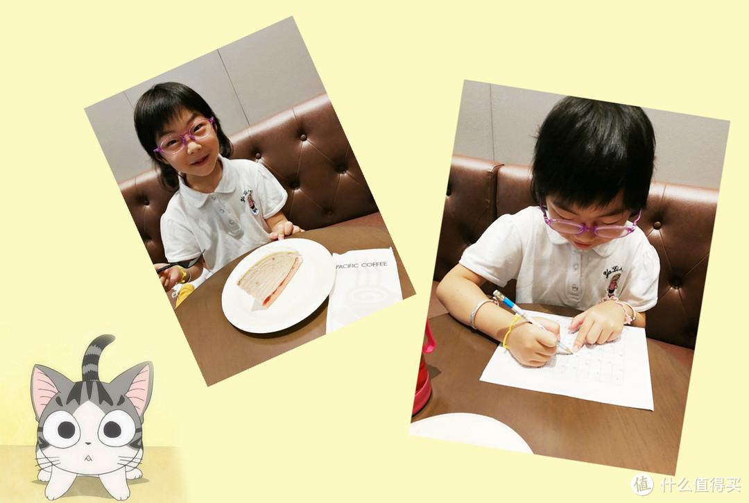 """我们在上海火车站候车的地方吃蛋糕,做作业,宝贝问:""""妈妈,为什么出来玩还要做作业?""""我,哈哈哈~~"""