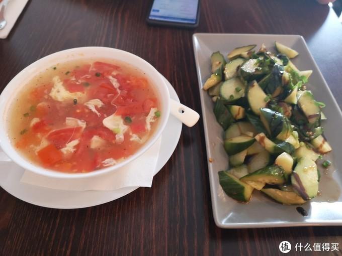 番茄蛋汤与凉拌黄瓜