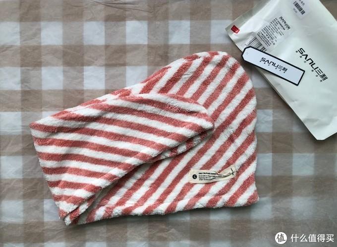 三利牌 斜纹抗菌防螨干发帽(粉色)开箱晒物
