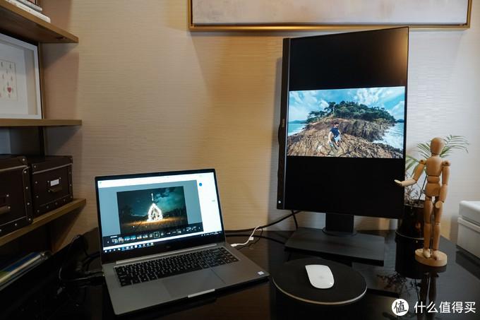 显示器竖屏,一边修图,一边预览效果,高效~