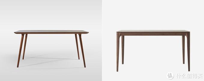 黑胡桃餐桌对比:造型设计