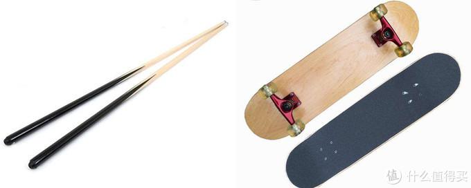 运动器具:硬枫球杆与滑板