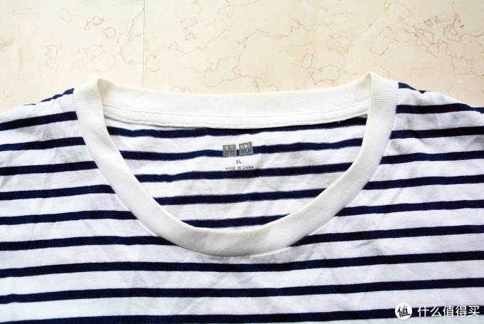 一件优衣库较早期的条纹T恤,领口罗纹稍不加打理就变黄了
