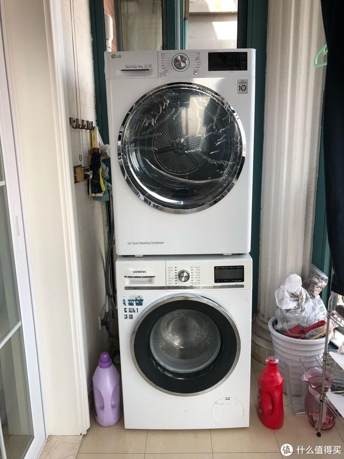LG干衣機RC90U2AV2W與西門子洗衣機的疊放實操