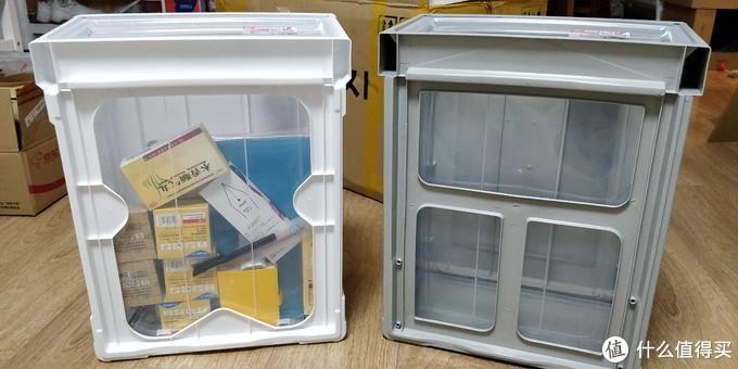 可以看到两个箱子的底部构造不一样