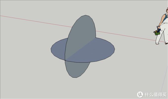 使用旋转工具以中心为原点,摁一下Ctrl,旋转90°,即可得到两个相互垂直的圆