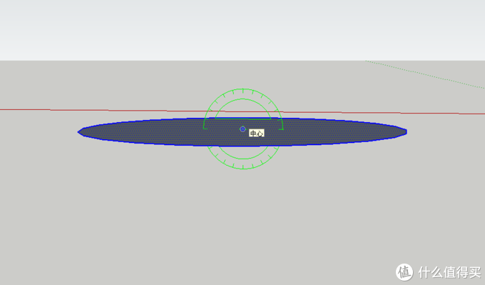 选择旋转工具,倾斜画面角度至旋转工具变成红色或绿色