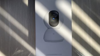 米家智能摄像机云台版外观展示(按键|接口|电源线)