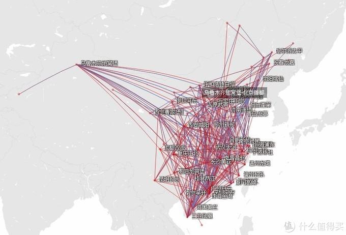 海南航空的国内航线分布
