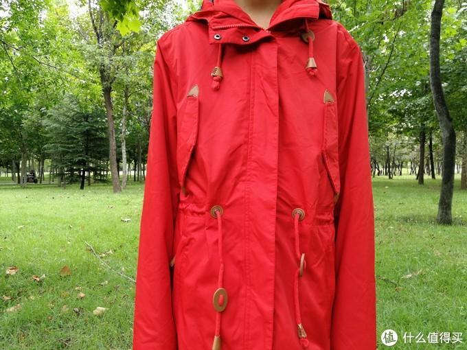 一袭红衣乐金秋--龙狮戴尔23441LS9596 女中长款防风防水三合一冲锋衣评测