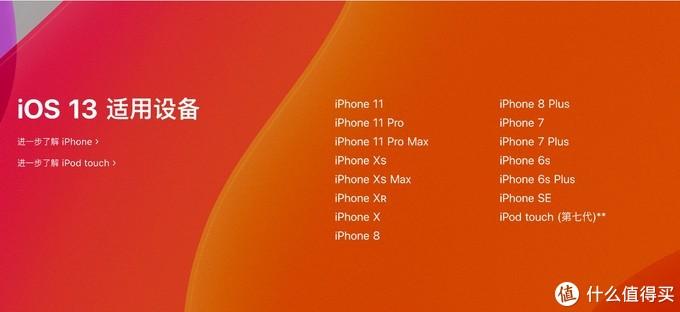iOS13支持的设备列表