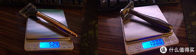 左边Harrys的金属是铝制的,相对也是比较轻。右图shaveology的这把实心的就重很多,但好像又有些过于重的感觉