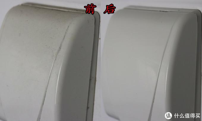 清洁前后对比图,终于找到治理塑料盖板上油垢粉尘混合物的方法。