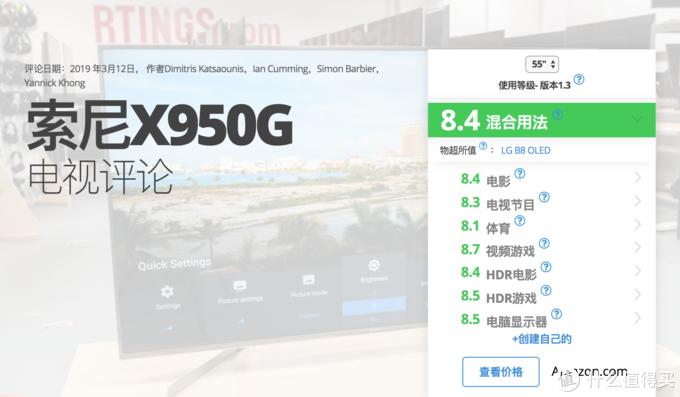 索尼X9500G海外版评分
