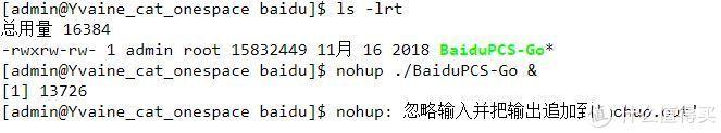 后台运行BaiduPCS-Go