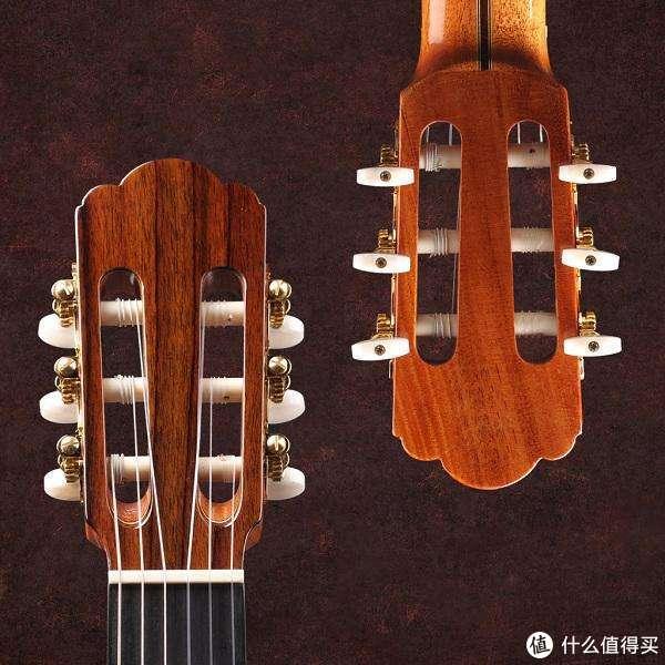 古典琴头,琴弦是缠绕在琴头的圆柱体上,一圈圈卷好。