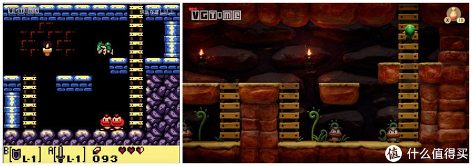 1998年GBC版(左)、2019年NS版(右)(图来源于游戏时光)
