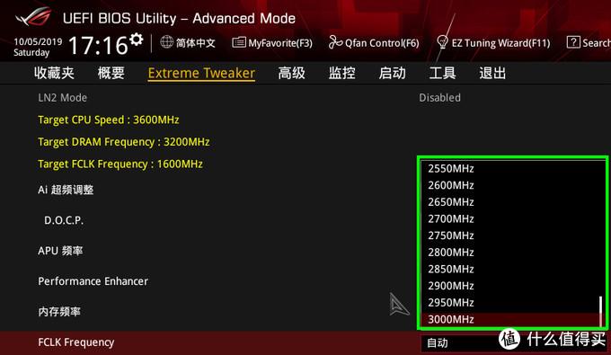 (华硕C8H主板BIOS中支持最高3000MHz的FCLK频率)