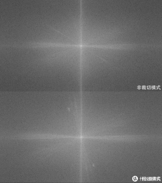 FFT频谱图——很明显裁切模式代表细节纹理的亮斑更多更广