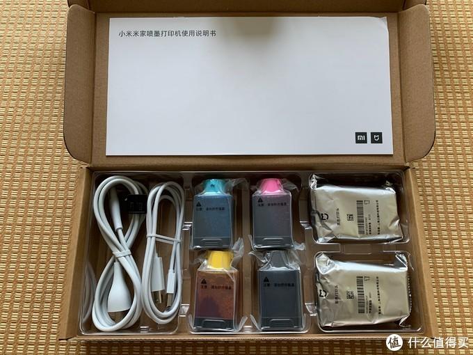 电源线、USB线、4色墨水、黑白和彩色打印头