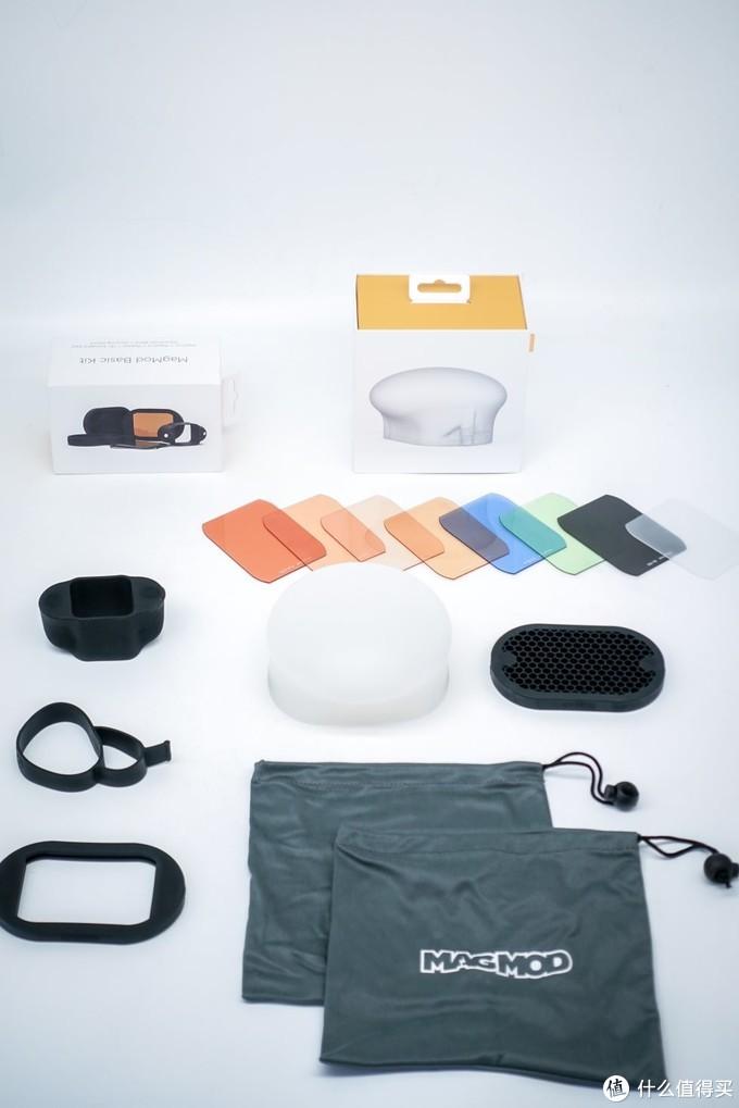 这就是单灯进阶套装的全部东西磁吸式闪灯接座X1专业闪光灯蜂巢板X1磁吸式快卸片框连滤色片套装(含8片滤色片)X1便携袋X1触发器挂闪光灯紧缩带X1