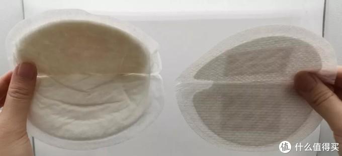 △在光下,薄的乳垫的背胶清晰可见,而厚的乳垫的背胶不可见。