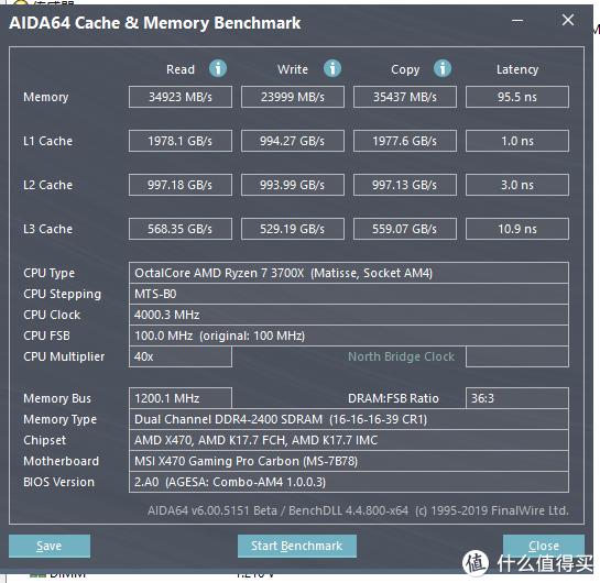 AIDA64内存缓存测试截图(2400MHz)