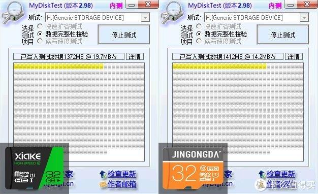 MyDiskTest进行数据完整性校验,夏科写速19.7MB/S,金弓达写速14.2MB/S
