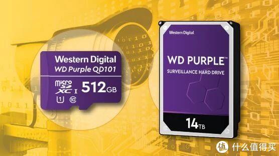 主打耐用性、监控专用:WD 西数 发布 Purple 14TB HDD 紫盘, Purple SC QD101 microSD 紫卡