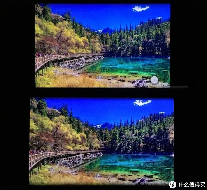 注意这张图并不是全屏显示,只是OLED在显示黑色时能做到100%全黑(上方P下方Mate)