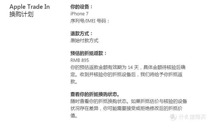 官网对iPhone7折抵预估价