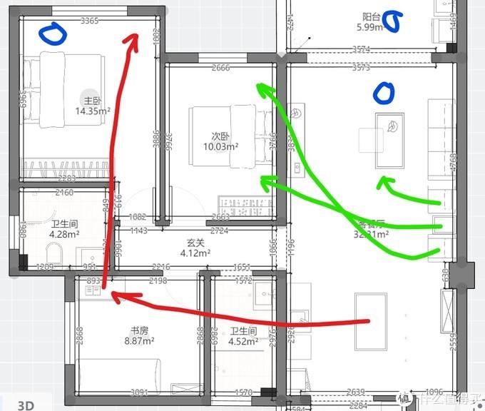 红线:以后有小宝宝了,餐桌可以当书桌,书房的书桌可以移到主卧。这样客厅就有了一个超大的空间可以围起来给宝宝玩。长大了又可以恢复,吃饭可以在茶几上解决。绿线:单人沙发和柜子可以做床头柜。篮圈:我是想买个躺椅这三个地方都可以摆。