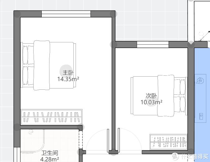 注意次卧的通道不是太宽,说明选择床时要找床头板薄的简约型设计。