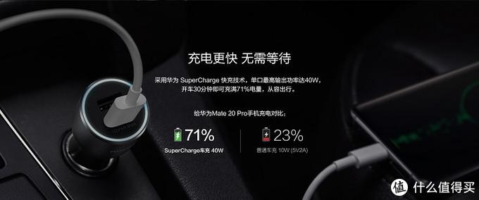华为CP37车载充电器,40W超级快充给你的Mate手机半小时充71%