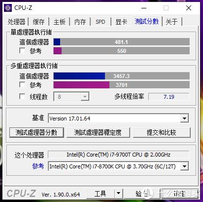 CPU-Z测试分数还可以,上图是和i7-8700K的对比,差距在15%以内