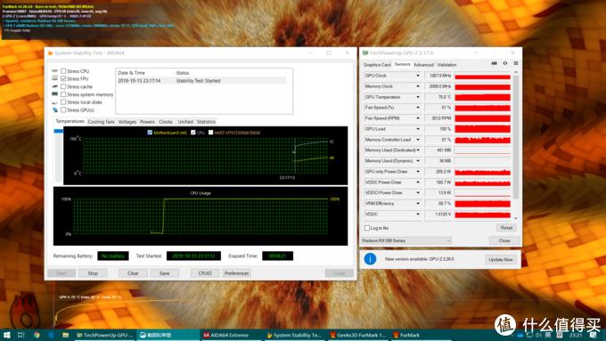 模拟当时风扇全无的情况,4分钟双烤CPU就到了92℃,显卡75℃