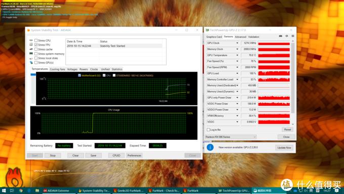 双烤4min,CPU 70℃、显卡70℃