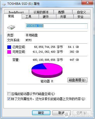 480G NTFS格式下实际447GB