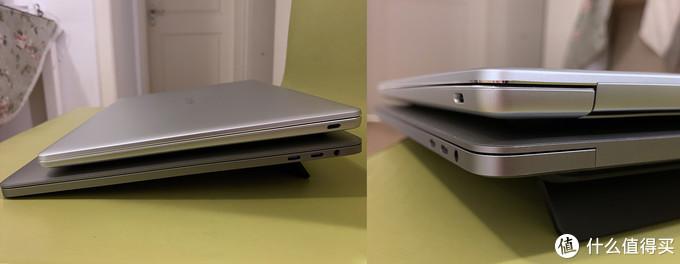 MateBook13侧面与MacBookPro15寸厚度对比