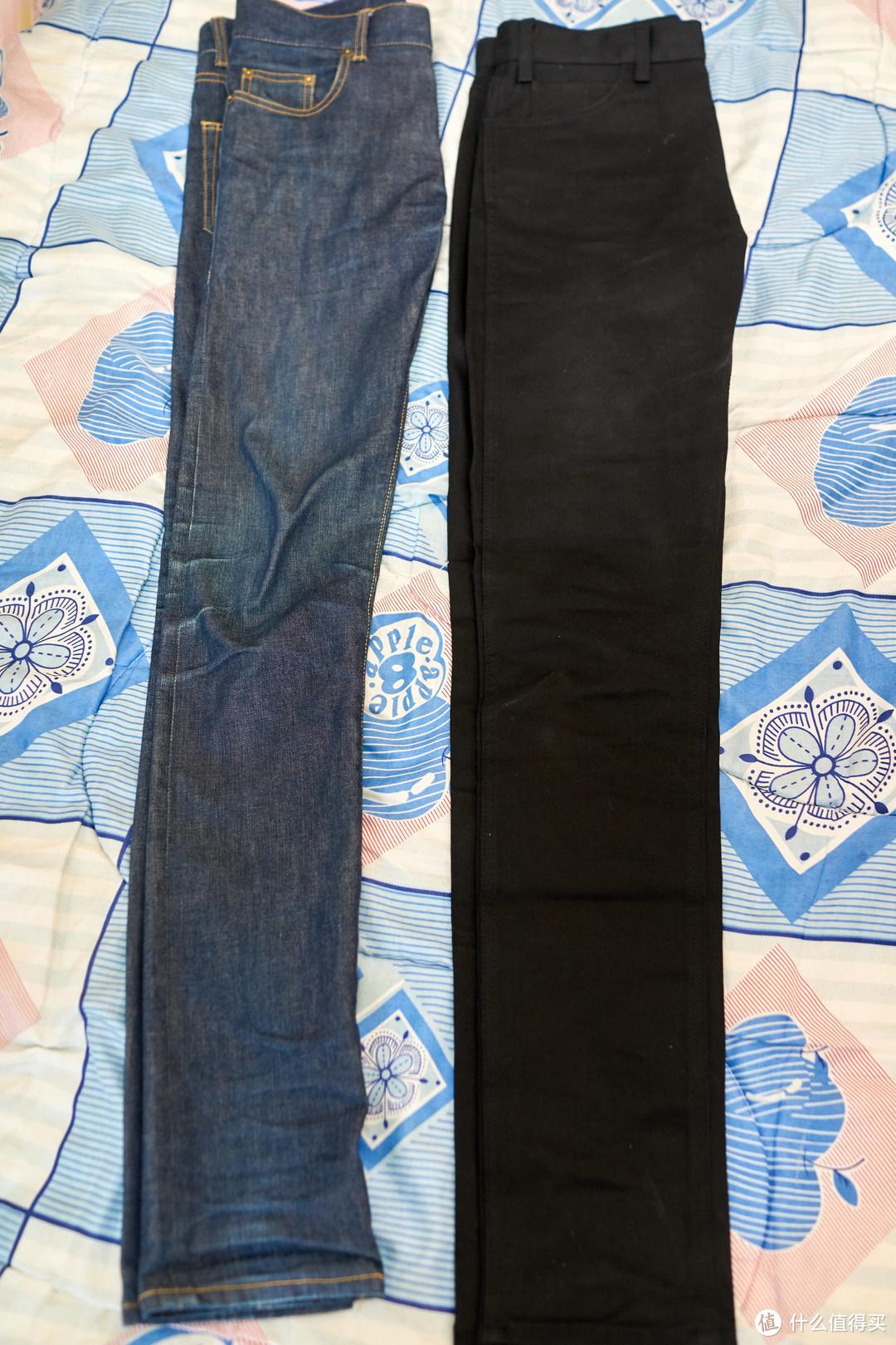 侧面和之前的同尺码的SL牛仔裤对比,虽然这条裤子被我穿出点纹路来了,长度是110cm,比SL(114)短一点点。