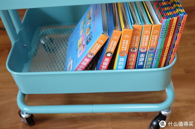 放入书本,高度和宽度都还不错。很适合当移动绘本架。